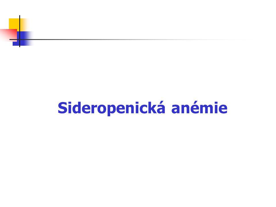 Funkce železa druhý nejrozšířenější kov zemské kůry tvoří důležitou funkční složku řady důležitých enzymů (katalázy, akonitázy, ribonukleotid-reduktázy, peroxidázy, cytochromoxidázy) a hemoglobinu, poruchy metabolismu Fe proto mohou mít široké důsledky nejčastěji se vyskytujícím klinickým projevem nedostatku Fe je sideropenická anémie – celosvětově nejrozšířenější typ anémie, postihuje asi 500 miliónů lidí na celém světě