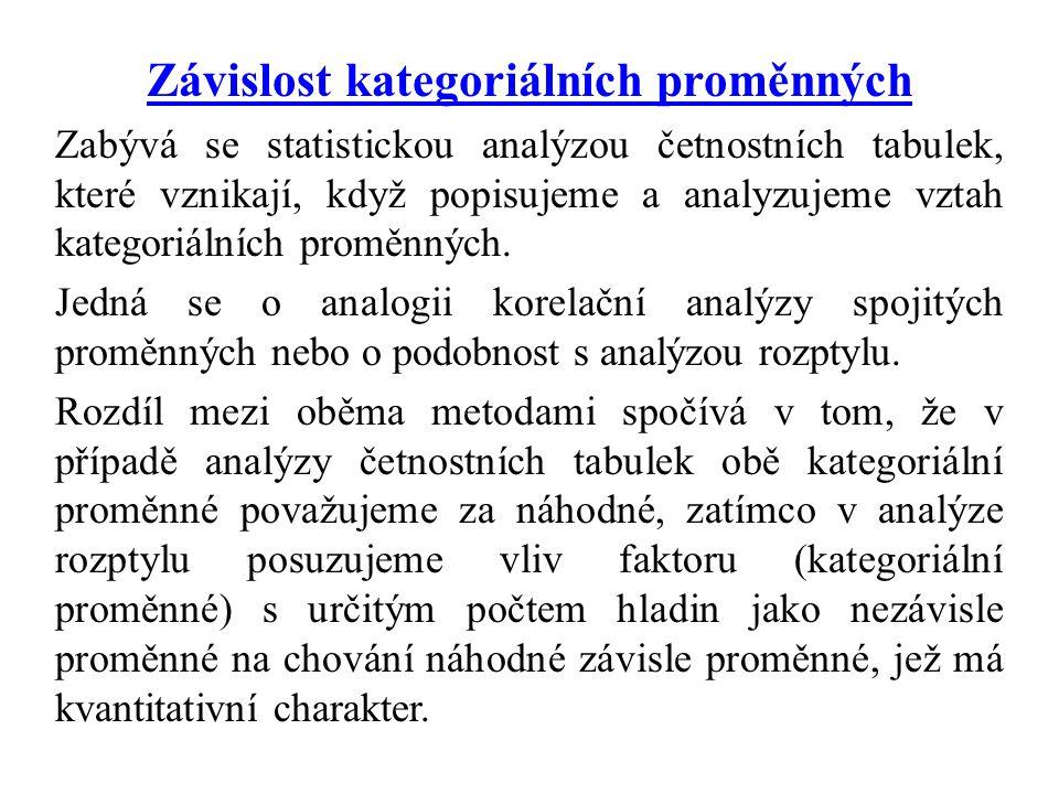 Závislost kategoriálních proměnných Zabývá se statistickou analýzou četnostních tabulek, které vznikají, když popisujeme a analyzujeme vztah kategoriálních proměnných.