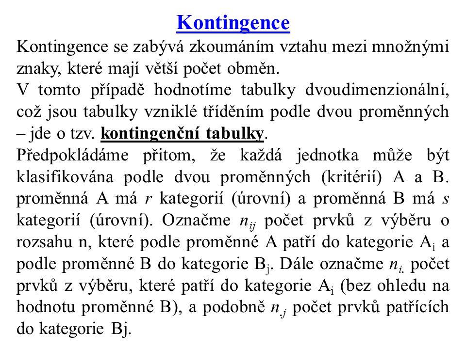Kontingence Kontingence se zabývá zkoumáním vztahu mezi množnými znaky, které mají větší počet obměn. V tomto případě hodnotíme tabulky dvoudimenzioná