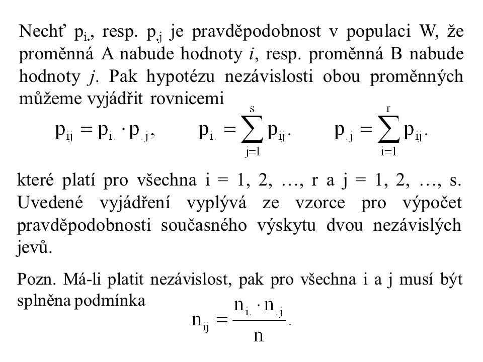 Nechť p i., resp. p.j je pravděpodobnost v populaci W, že proměnná A nabude hodnoty i, resp. proměnná B nabude hodnoty j. Pak hypotézu nezávislosti ob