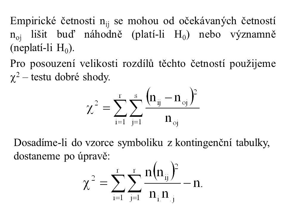 Empirické četnosti n ij se mohou od očekávaných četností n oj lišit buď náhodně (platí-li H 0 ) nebo významně (neplatí-li H 0 ). Pro posouzení velikos