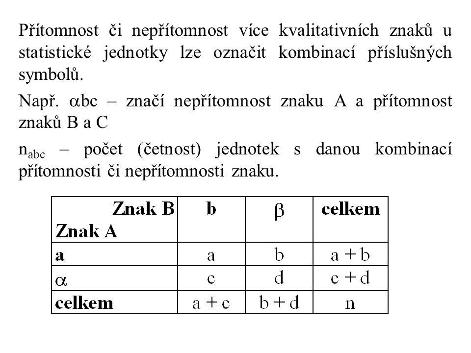 Přítomnost či nepřítomnost více kvalitativních znaků u statistické jednotky lze označit kombinací příslušných symbolů. Např.  bc – značí nepřítomnost