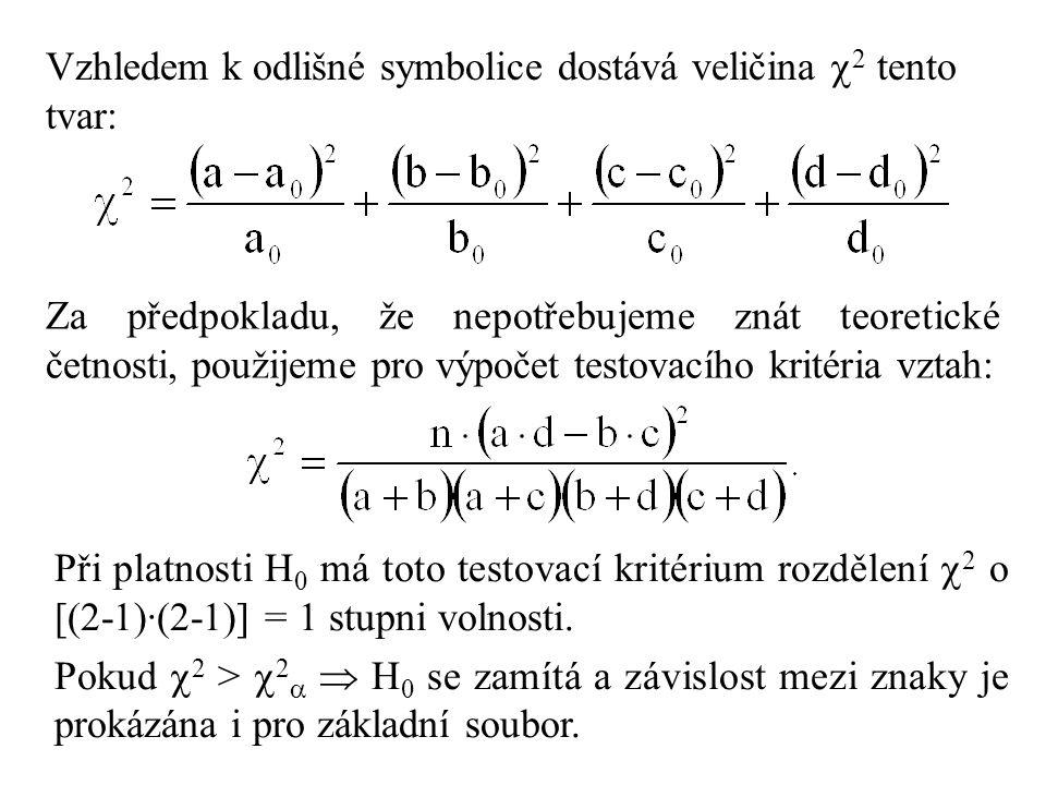 Vzhledem k odlišné symbolice dostává veličina  2 tento tvar: Za předpokladu, že nepotřebujeme znát teoretické četnosti, použijeme pro výpočet testovacího kritéria vztah: Při platnosti H 0 má toto testovací kritérium rozdělení  2 o [(2-1)·(2-1)] = 1 stupni volnosti.