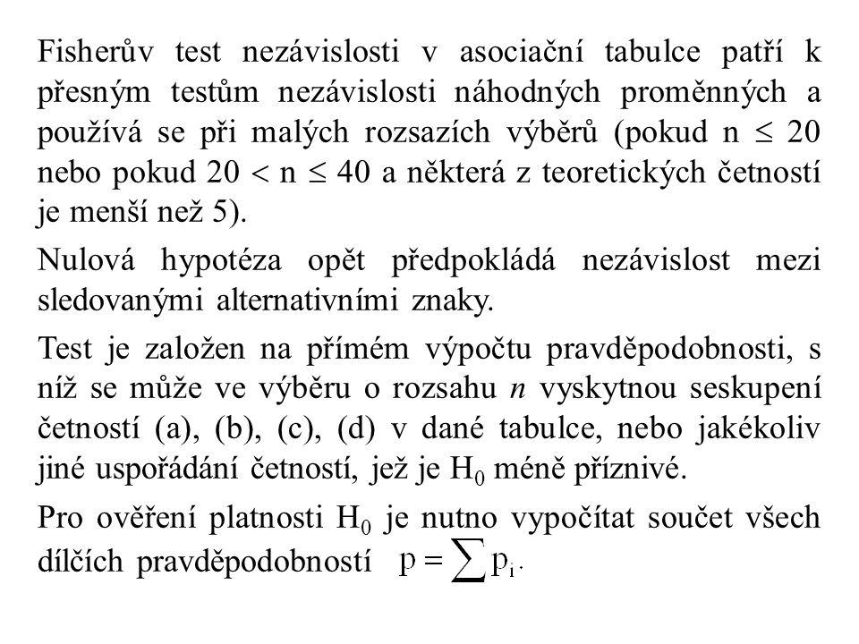 Fisherův test nezávislosti v asociační tabulce patří k přesným testům nezávislosti náhodných proměnných a používá se při malých rozsazích výběrů (pokud n  20 nebo pokud 20  n  40 a některá z teoretických četností je menší než 5).