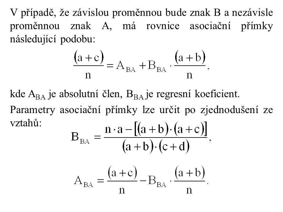 V případě, že závislou proměnnou bude znak B a nezávisle proměnnou znak A, má rovnice asociační přímky následující podobu: kde A BA je absolutní člen, B BA je regresní koeficient.