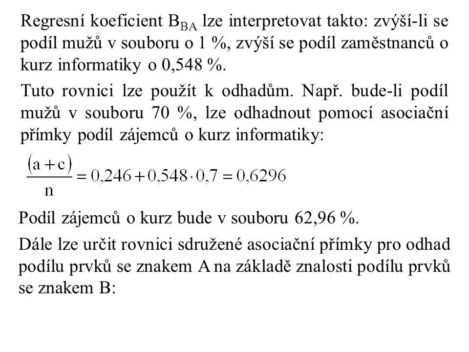 Regresní koeficient B BA lze interpretovat takto: zvýší-li se podíl mužů v souboru o 1 %, zvýší se podíl zaměstnanců o kurz informatiky o 0,548 %. Tut