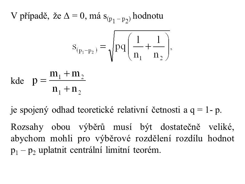 V případě, že  = 0, má s (p 1 – p 2 ) hodnotu kde je spojený odhad teoretické relativní četnosti a q = 1- p. Rozsahy obou výběrů musí být dostatečně