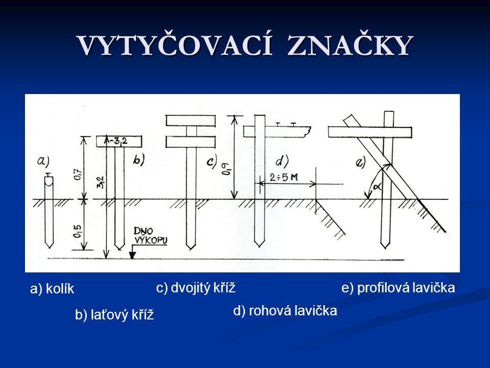VYTYČOVACÍ ZNAČKY a) kolík b) laťový kříž c) dvojitý kříž d) rohová lavička e) profilová lavička