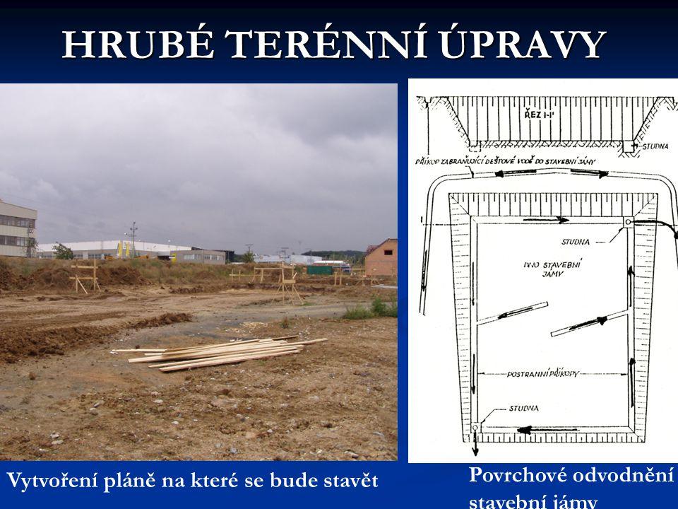 HRUBÉ TERÉNNÍ ÚPRAVY Vytvoření pláně na které se bude stavět Povrchové odvodnění stavební jámy