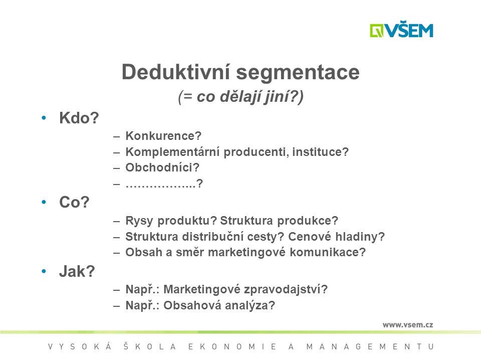 Deduktivní segmentace (= co dělají jiní?) Kdo? –Konkurence? –Komplementární producenti, instituce? –Obchodníci? –……………...? Co? –Rysy produktu? Struktu
