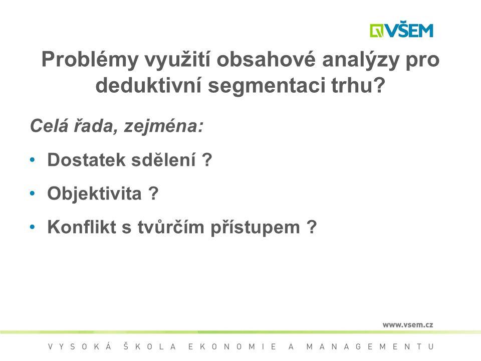 Problémy využití obsahové analýzy pro deduktivní segmentaci trhu? Celá řada, zejména: Dostatek sdĕlení ? Objektivita ? Konflikt s tvůrčím přístupem ?