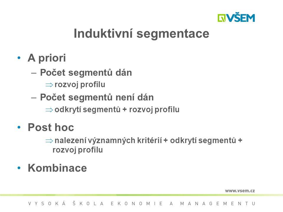 Induktivní segmentace A priori –Počet segmentů dán  rozvoj profilu –Počet segmentů není dán  odkrytí segmentů + rozvoj profilu Post hoc  nalezení v