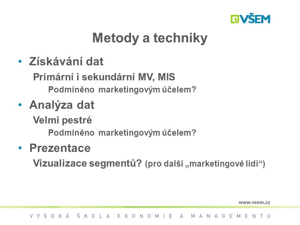 Metody a techniky Získávání dat Primární i sekundární MV, MIS Podmínĕno marketingovým účelem? Analýza dat Velmi pestré Podmínĕno marketingovým účelem?