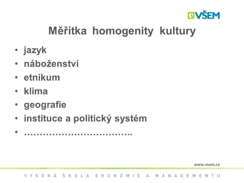 Měřítka homogenity kultury jazyk náboženství etnikum klima geografie instituce a politický systém ……………………………..