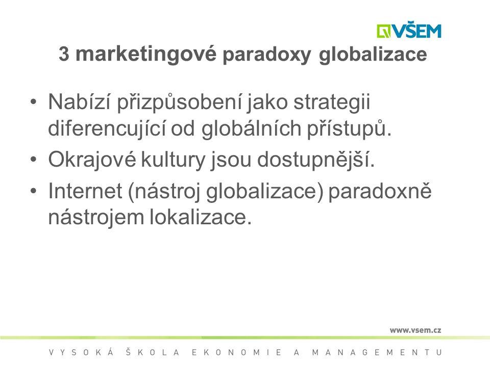 3 marketingové paradoxy globalizace Nabízí přizpůsobení jako strategii diferencující od globálních přístupů. Okrajové kultury jsou dostupnější. Intern