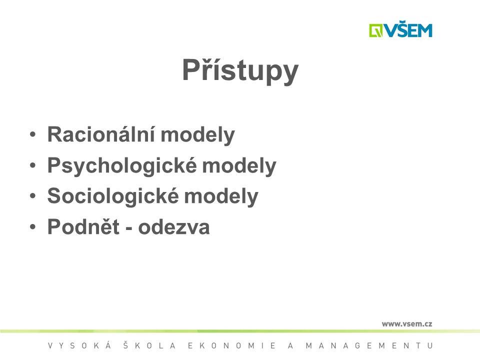 Přístupy Racionální modely Psychologické modely Sociologické modely Podnět - odezva