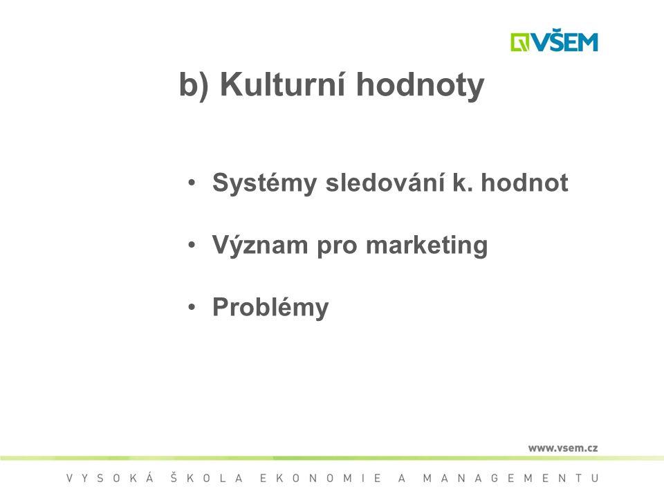 b) Kulturní hodnoty Systémy sledování k. hodnot Význam pro marketing Problémy