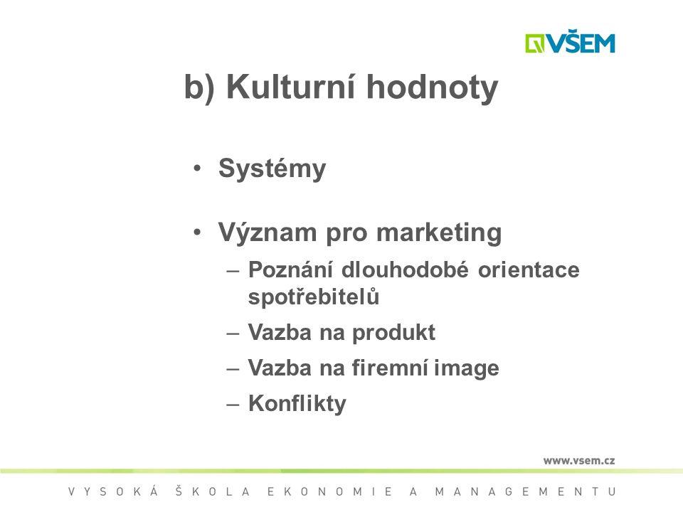 b) Kulturní hodnoty Systémy Význam pro marketing –Poznání dlouhodobé orientace spotřebitelů –Vazba na produkt –Vazba na firemní image –Konflikty