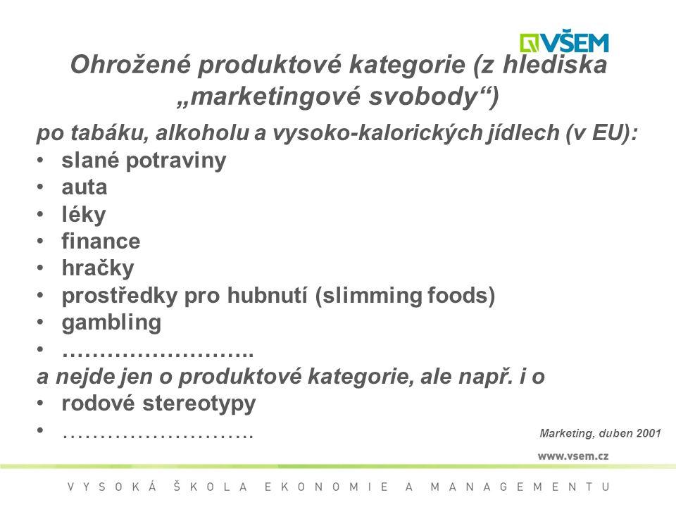 """Ohrožené produktové kategorie (z hlediska """"marketingové svobody"""") po tabáku, alkoholu a vysoko-kalorických jídlech (v EU): slané potraviny auta léky f"""