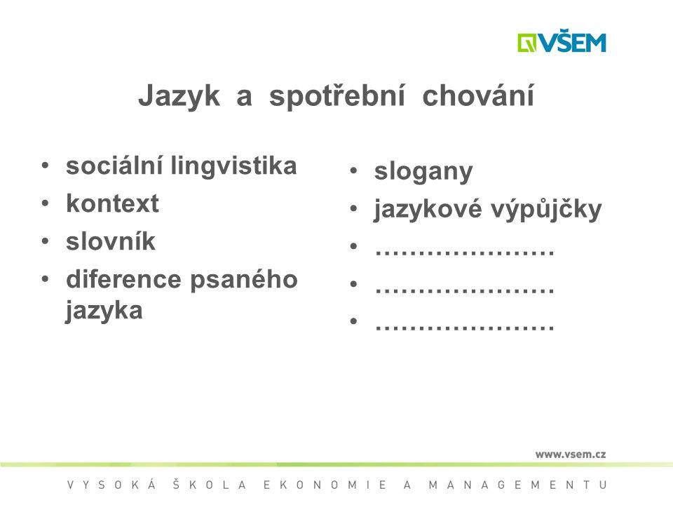 Jazyk a spotřební chování sociální lingvistika kontext slovník diference psaného jazyka slogany jazykové výpůjčky …………………