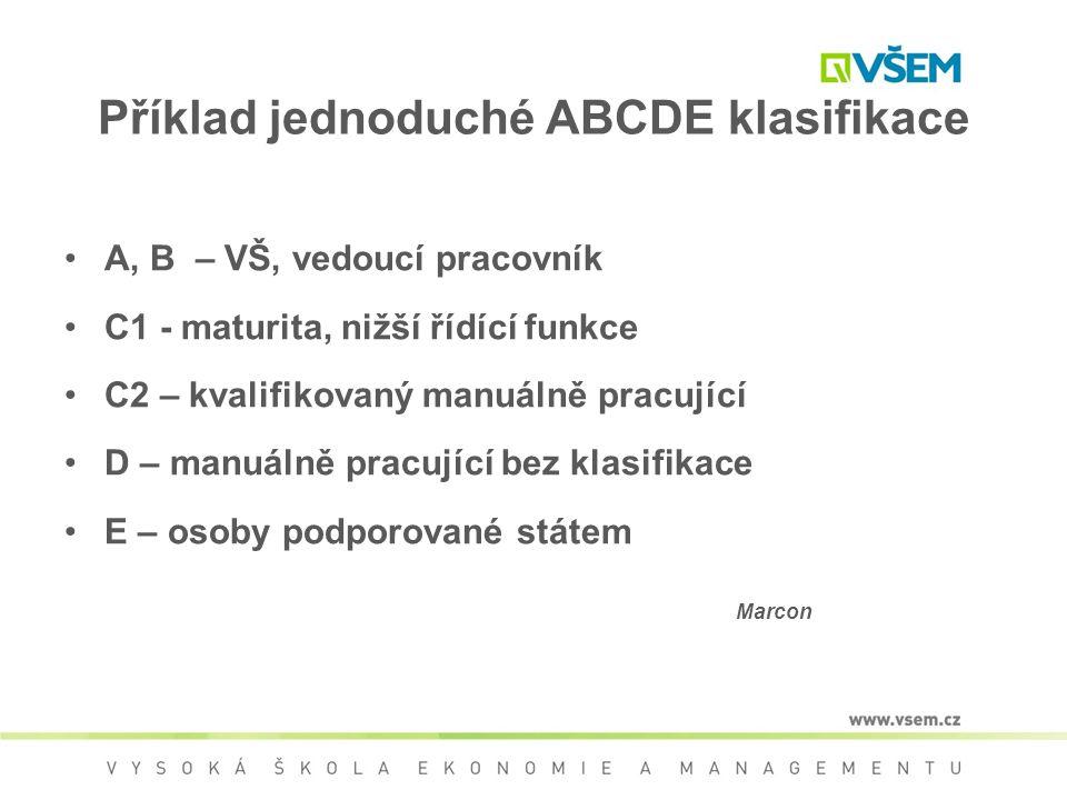Příklad jednoduché ABCDE klasifikace A, B – VŠ, vedoucí pracovník C1 - maturita, nižší řídící funkce C2 – kvalifikovaný manuálně pracující D – manuáln