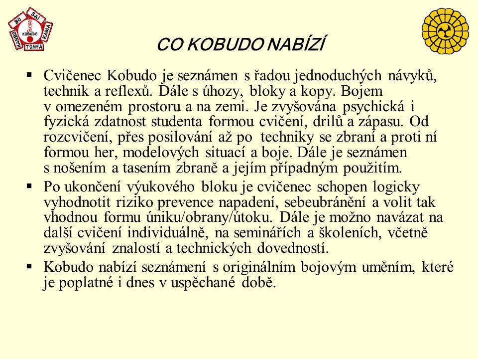 CO KOBUDO NABÍZÍ  Cvičenec Kobudo je seznámen s řadou jednoduchých návyků, technik a reflexů. Dále s úhozy, bloky a kopy. Bojem v omezeném prostoru a