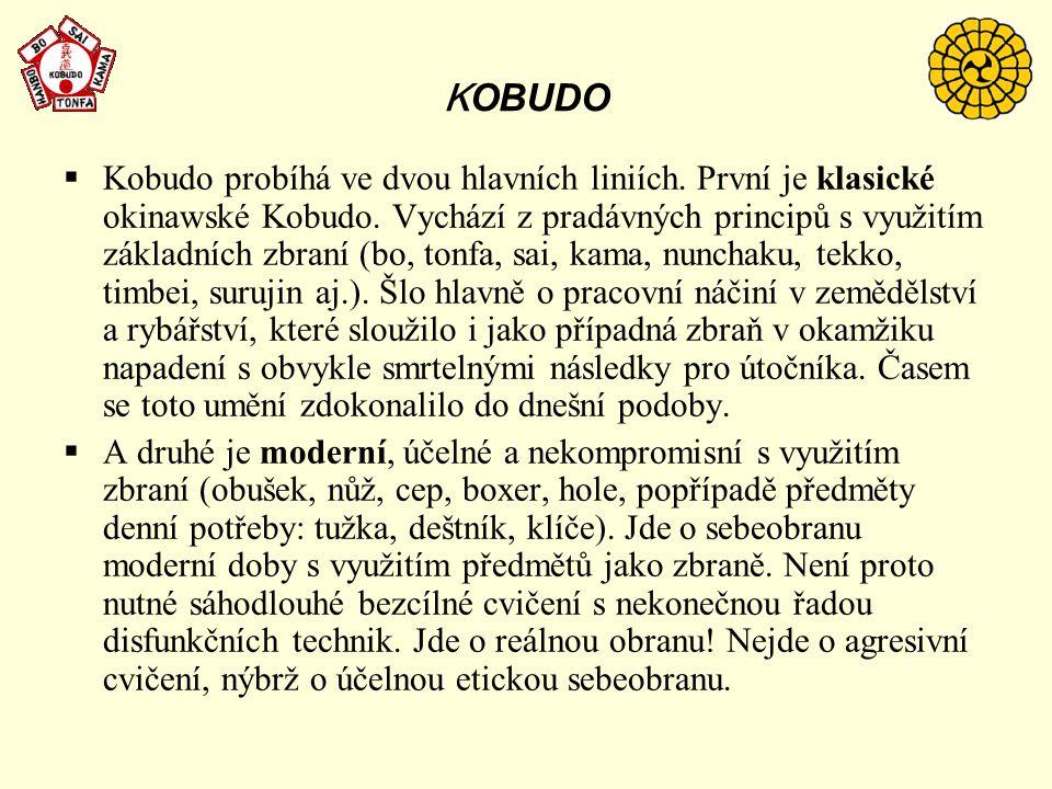 K OBUDO  Kobudo probíhá ve dvou hlavních liniích. První je klasické okinawské Kobudo. Vychází z pradávných principů s využitím základních zbraní (bo,