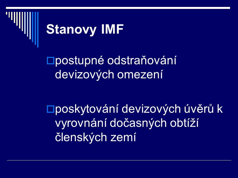 Hlavní orgány IMF  Rada guvernérů  Rada výkonných ředitelů  Mezinárodní měnový a finanční výbor