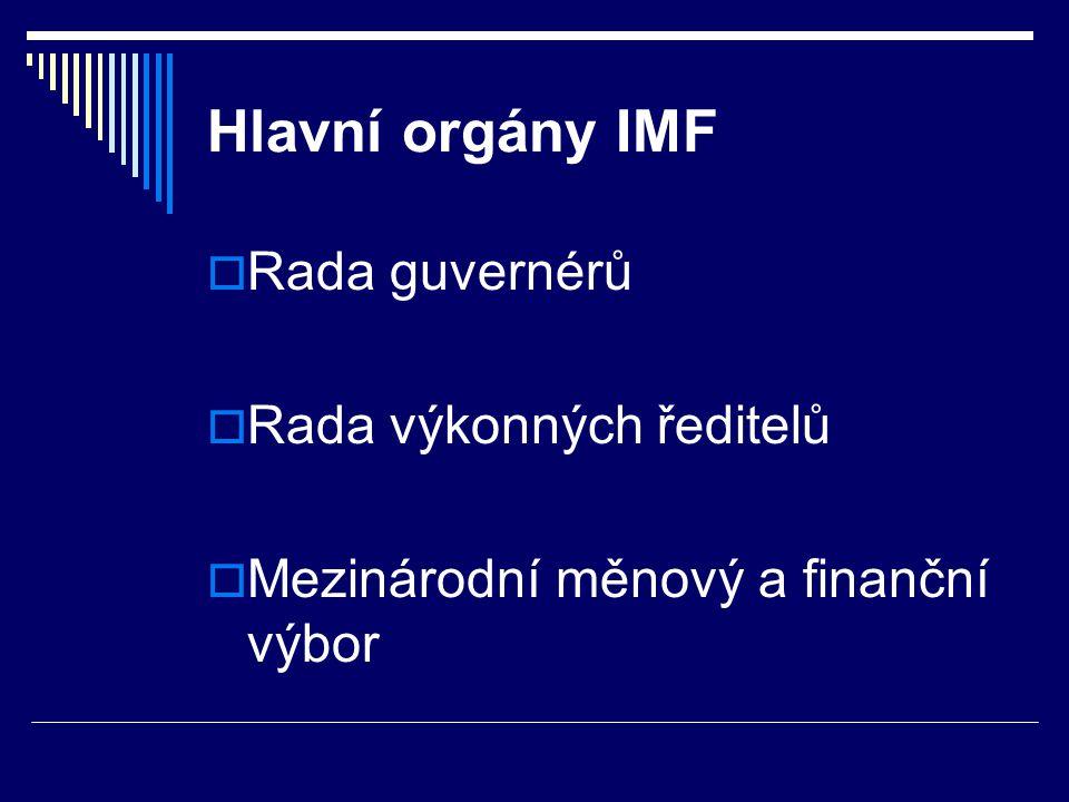 Údaje o IMF  sídlo IMF ve Washingtonu  každý člen přispívá do společné pokladny finančním obnosem  75 % příspěvku ve své vlastní měně a zbytek v podobě SDR