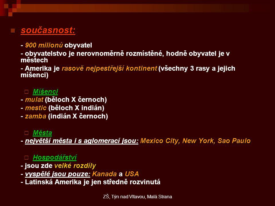 současnost: současnost: 900 milionů - 900 milionů obyvatel - obyvatelstvo je nerovnoměrně rozmístěné, hodně obyvatel je v městech rasově nejpestřejší kontinent - Amerika je rasově nejpestřejší kontinent (všechny 3 rasy a jejich míšenci)  Míšenci mulat - mulat (běloch X černoch) mestic - mestic (běloch X indián) zamba - zamba (indián X černoch)  Města Mexico City, New York, Sao Paulo - největší města i s aglomerací jsou: Mexico City, New York, Sao Paulo  Hospodářství velké rozdíly - jsou zde velké rozdíly KanadaUSA - vyspělé jsou pouze: Kanada a USA - Latinská Amerika je jen středně rozvinutá ZŠ, Týn nad Vltavou, Malá Strana