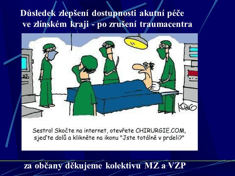 Důsledek zlepšení dostupnosti akutní péče ve zlínském kraji - po zrušení traumacentra za občany děkujeme kolektivu MZ a VZP