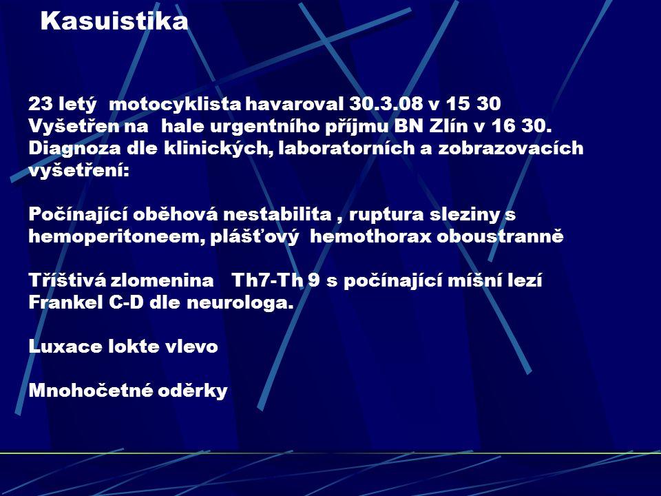 Plán léčebného postupu 1.Revize dutiny břišní, drenáž hrudníku - Chirurgie 2.Dekomprese a fixace zlomniny páteře - Neurochirurgie 3.Repozice loketního kloubu- Traumatologie 4.Stabilizace vnitřního prostředí ( ventilace,oběh,metabolismus) – ARO, JIP, TRN.Neurologie 5.