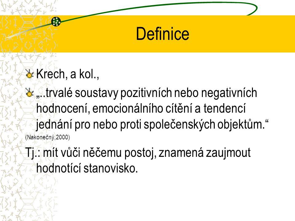 """Definice Krech, a kol., """"..trvalé soustavy pozitivních nebo negativních hodnocení, emocionálního cítění a tendencí jednání pro nebo proti společenských objektům. (Nakonečný,2000) Tj.: mít vůči něčemu postoj, znamená zaujmout hodnotící stanovisko."""