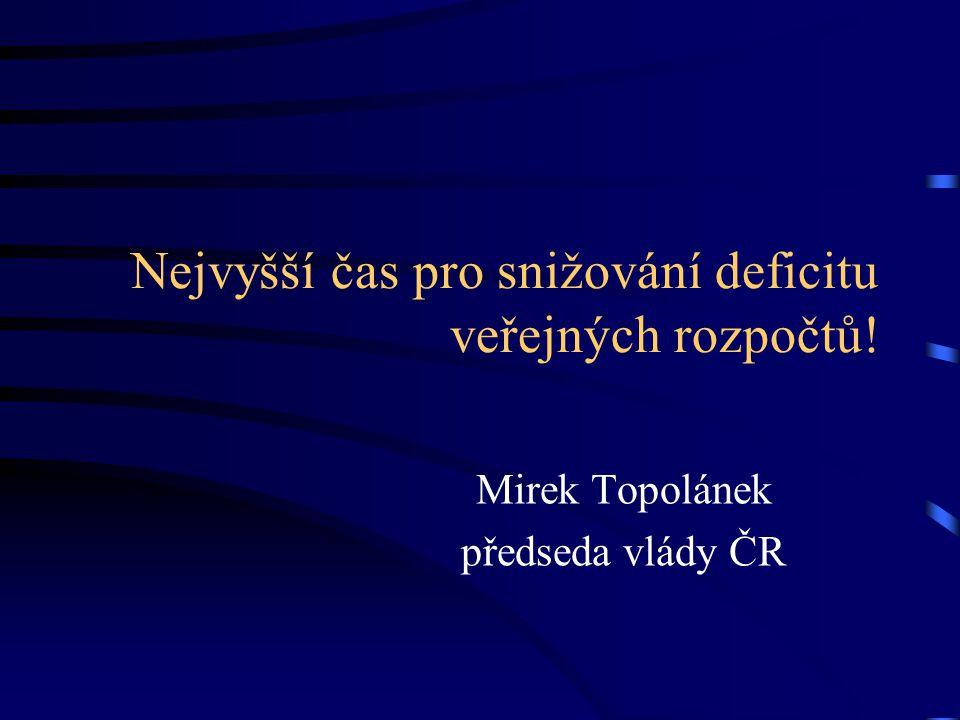Nejvyšší čas pro snižování deficitu veřejných rozpočtů! Mirek Topolánek předseda vlády ČR