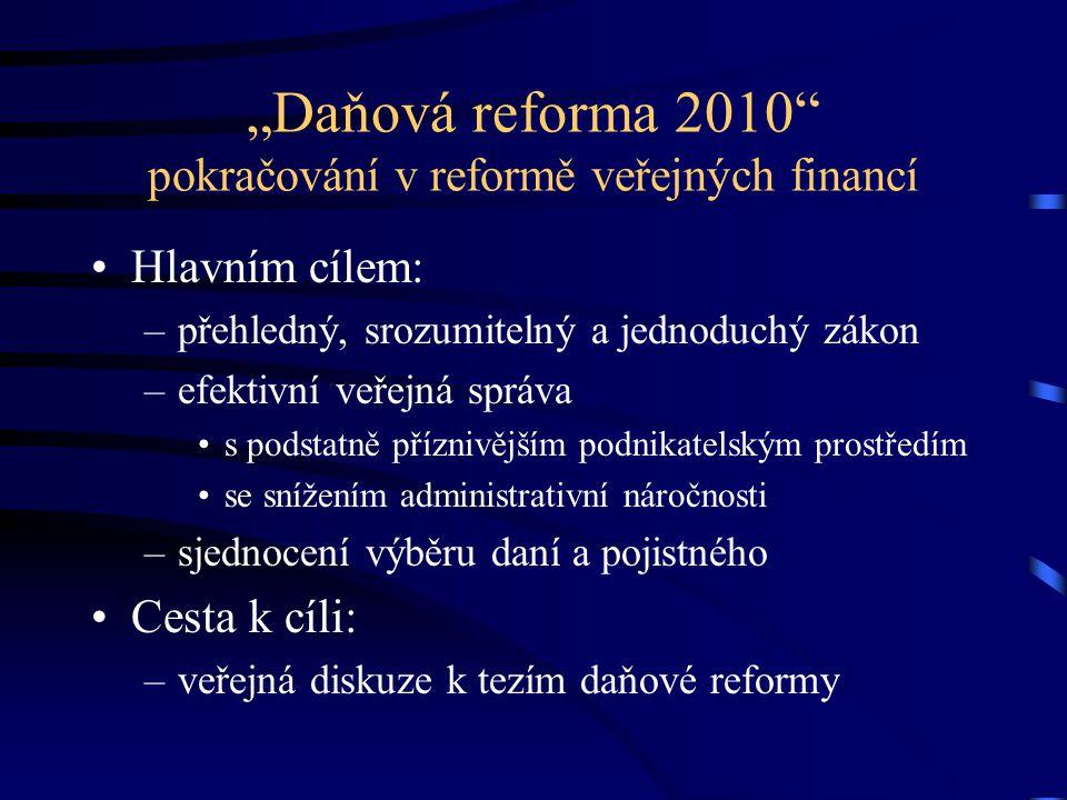 """""""Daňová reforma 2010"""" pokračování v reformě veřejných financí Hlavním cílem: –přehledný, srozumitelný a jednoduchý zákon –efektivní veřejná správa s p"""