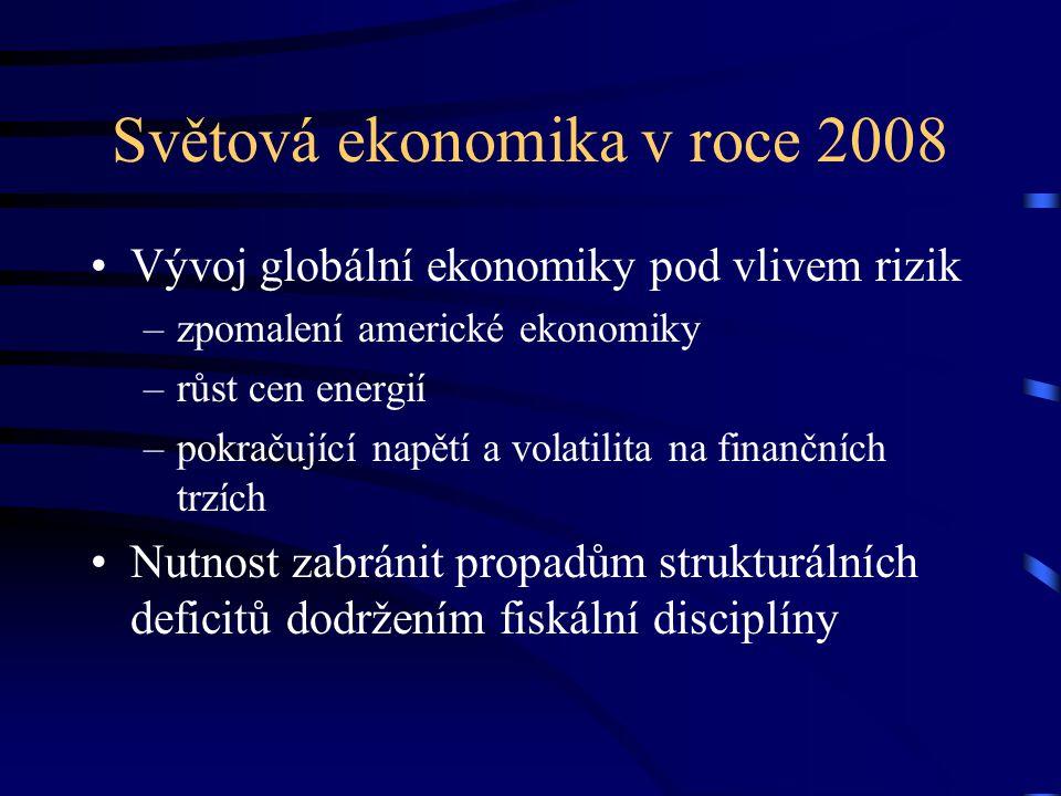 Světová ekonomika v roce 2008 Vývoj globální ekonomiky pod vlivem rizik –zpomalení americké ekonomiky –růst cen energií –pokračující napětí a volatilita na finančních trzích Nutnost zabránit propadům strukturálních deficitů dodržením fiskální disciplíny