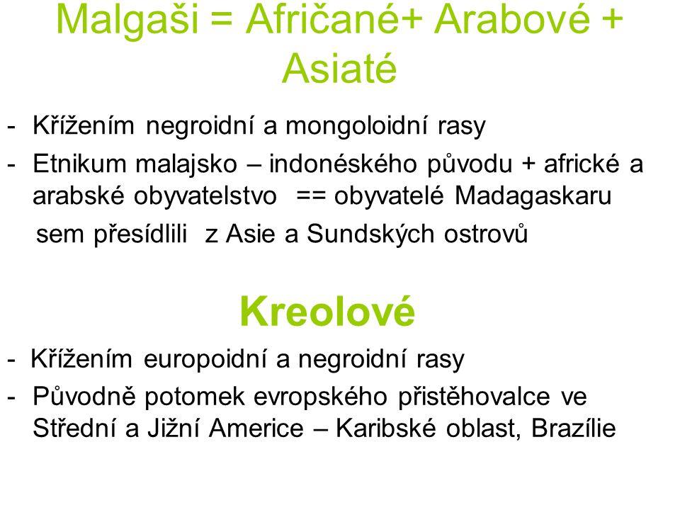 Malgaši = Afričané+ Arabové + Asiaté -Křížením negroidní a mongoloidní rasy -Etnikum malajsko – indonéského původu + africké a arabské obyvatelstvo ==