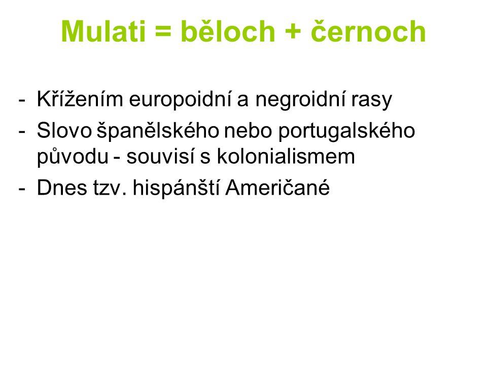 Mulati = běloch + černoch -Křížením europoidní a negroidní rasy -Slovo španělského nebo portugalského původu - souvisí s kolonialismem -Dnes tzv. hisp