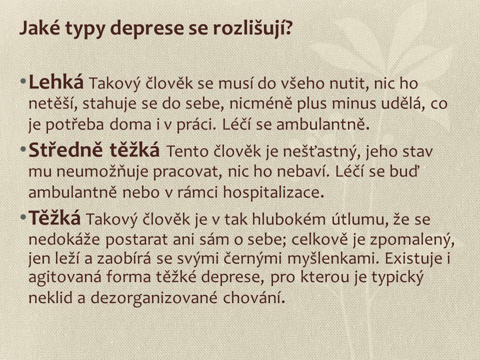 Jaké typy deprese se rozlišují? Lehká Takový člověk se musí do všeho nutit, nic ho netěší, stahuje se do sebe, nicméně plus minus udělá, co je potřeba