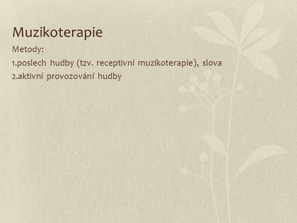Muzikoterapie Metody: 1.poslech hudby (tzv. receptivní muzikoterapie), slova 2.aktivní provozování hudby