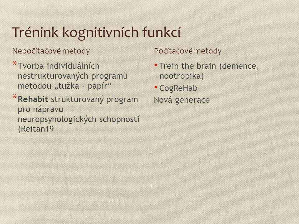 """Trénink kognitivních funkcí * Tvorba individuálních nestrukturovaných programů metodou """"tužka - papír"""" * Rehabit strukturovaný program pro nápravu neu"""