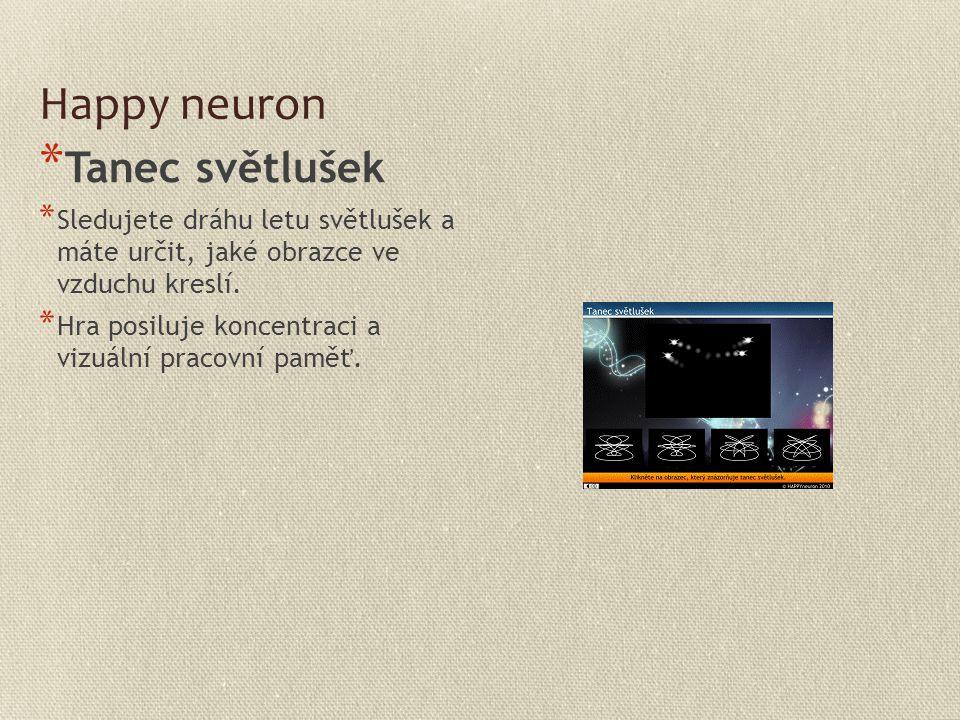 Happy neuron * Tanec světlušek * Sledujete dráhu letu světlušek a máte určit, jaké obrazce ve vzduchu kreslí. * Hra posiluje koncentraci a vizuální pr