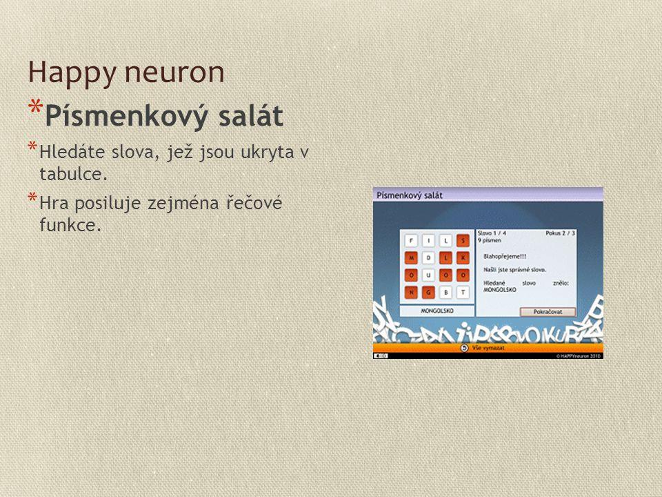 Happy neuron * Písmenkový salát * Hledáte slova, jež jsou ukryta v tabulce. * Hra posiluje zejména řečové funkce.