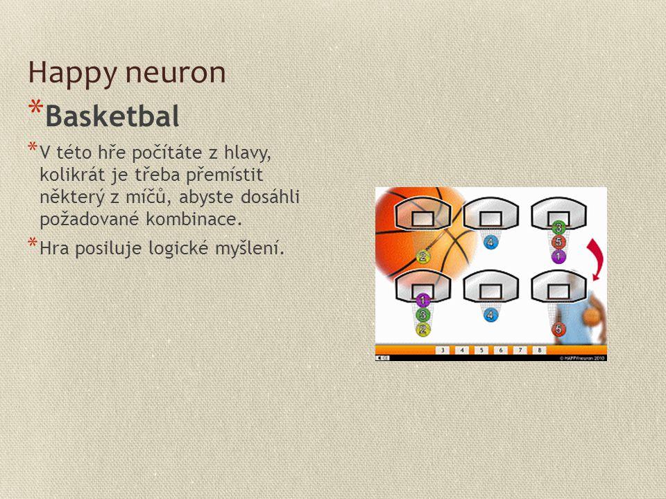 Happy neuron * Basketbal * V této hře počítáte z hlavy, kolikrát je třeba přemístit některý z míčů, abyste dosáhli požadované kombinace. * Hra posiluj