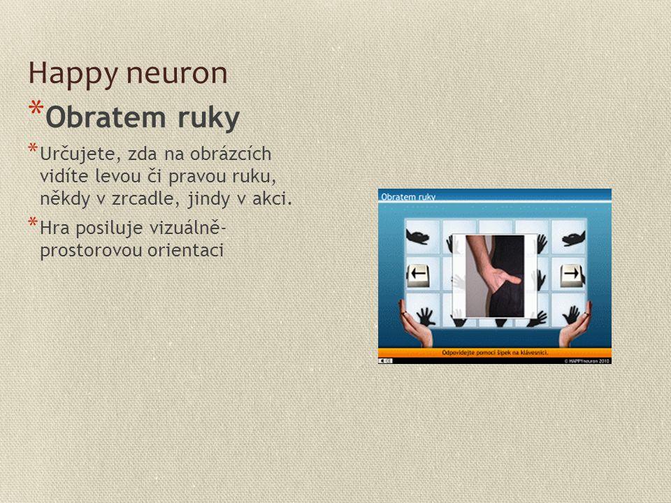 Happy neuron * Obratem ruky * Určujete, zda na obrázcích vidíte levou či pravou ruku, někdy v zrcadle, jindy v akci. * Hra posiluje vizuálně- prostoro