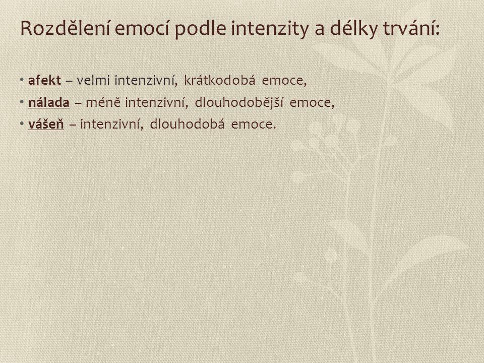 Rozdělení emocí podle intenzity a délky trvání: afekt – velmi intenzivní, krátkodobá emoce, nálada – méně intenzivní, dlouhodobější emoce, vášeň – int