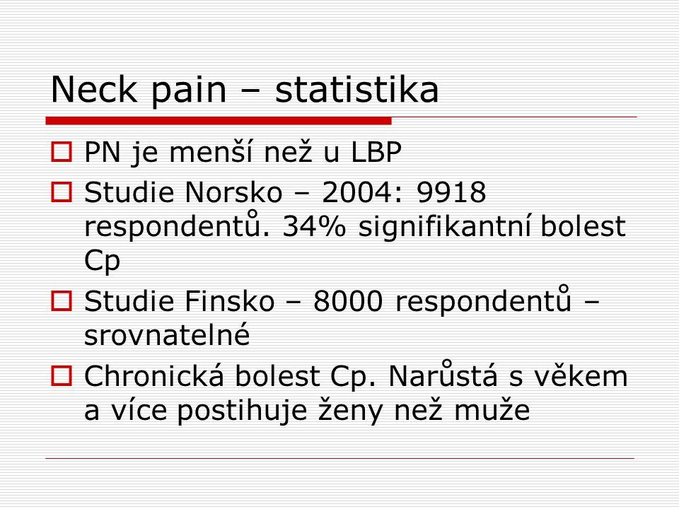 Neck pain – statistika  PN je menší než u LBP  Studie Norsko – 2004: 9918 respondentů. 34% signifikantní bolest Cp  Studie Finsko – 8000 respondent