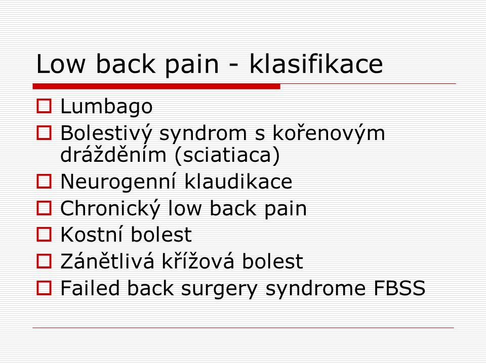Low back pain - klasifikace  Lumbago  Bolestivý syndrom s kořenovým drážděním (sciatiaca)  Neurogenní klaudikace  Chronický low back pain  Kostní