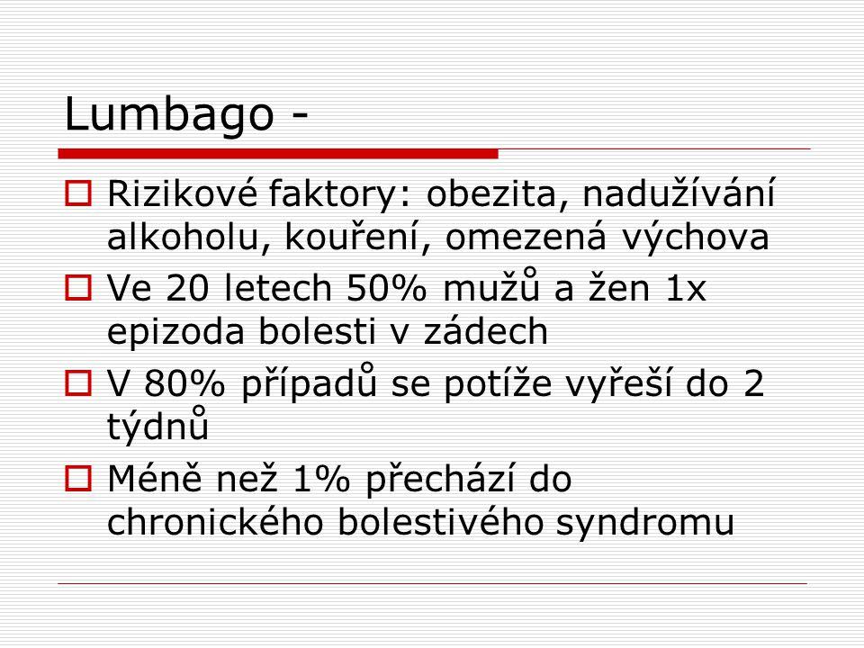 Lumbago -  Rizikové faktory: obezita, nadužívání alkoholu, kouření, omezená výchova  Ve 20 letech 50% mužů a žen 1x epizoda bolesti v zádech  V 80%
