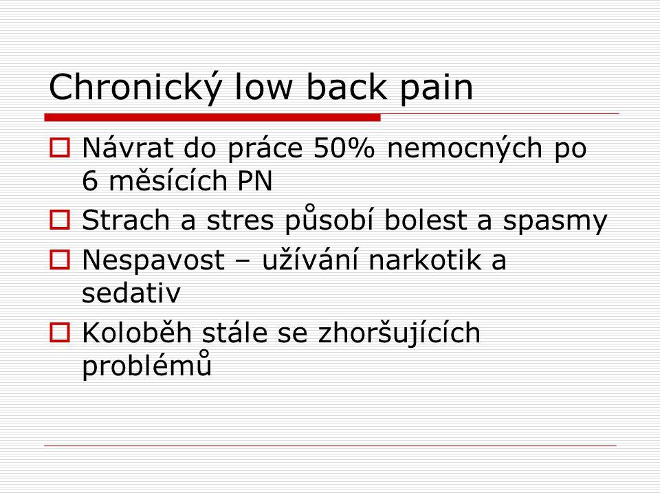 Chronický low back pain  Návrat do práce 50% nemocných po 6 měsících PN  Strach a stres působí bolest a spasmy  Nespavost – užívání narkotik a seda